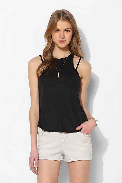 BDG Cut-In Tank Top,BLACK,L