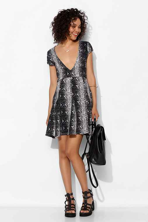 Stylestalker Unrequited Snakeskin Fit + Flare Dress