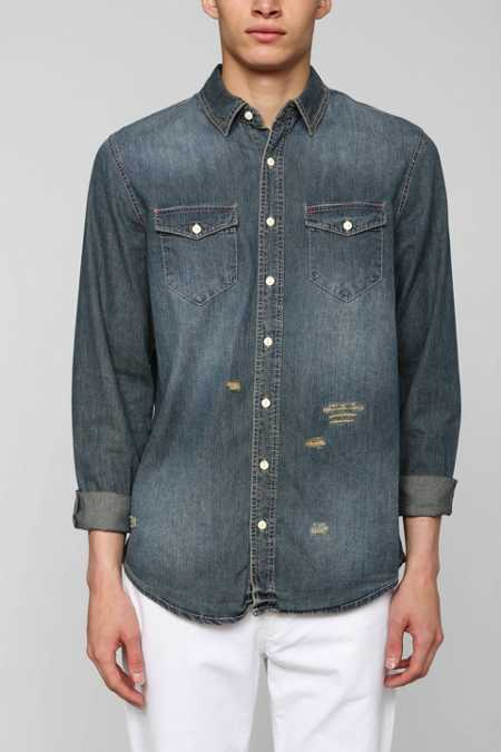 The Narrows Destroyed Button-Down Denim Shirt