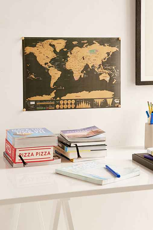 32x23 Deluxe World Scratch Map,BLACK,ONE SIZE