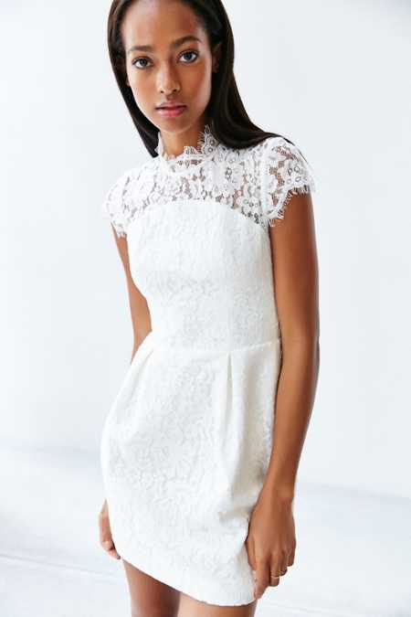 Keepsake Run The World Lace-Top Shift Dress
