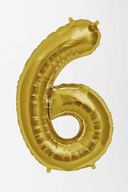 Gold Number Party Balloon,6,ONE SIZE