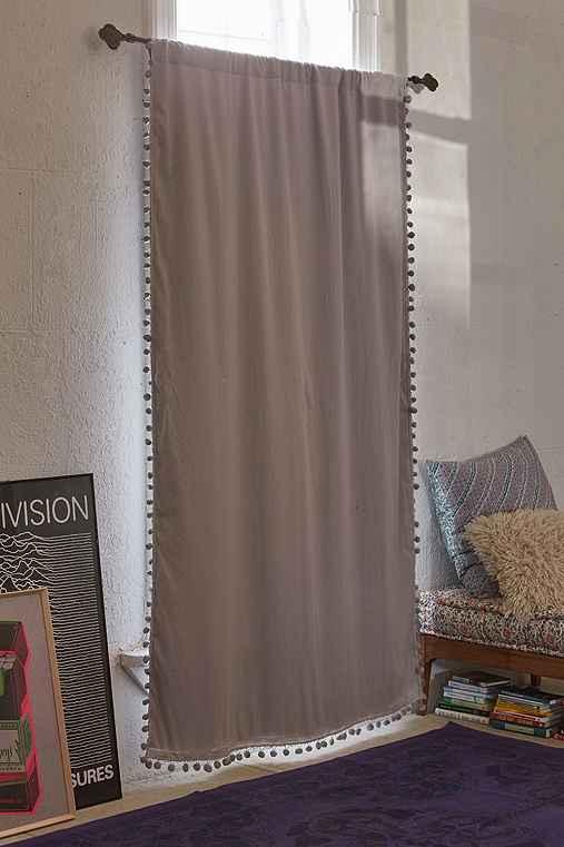 Plum & Bow Blackout Pompom Curtain,GREY,52X84
