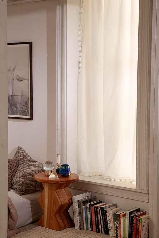Plum & Bow Blackout Pompom Curtain,IVORY,52X84