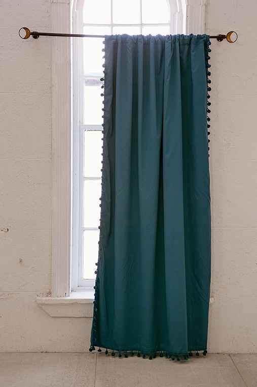 Plum & Bow Blackout Pompom Curtain,BLUE,52X84