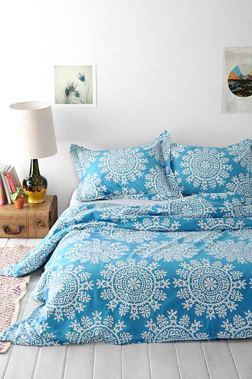 Plum & Bow Maya Medallion Duvet Cover,BLUE,TWIN XL