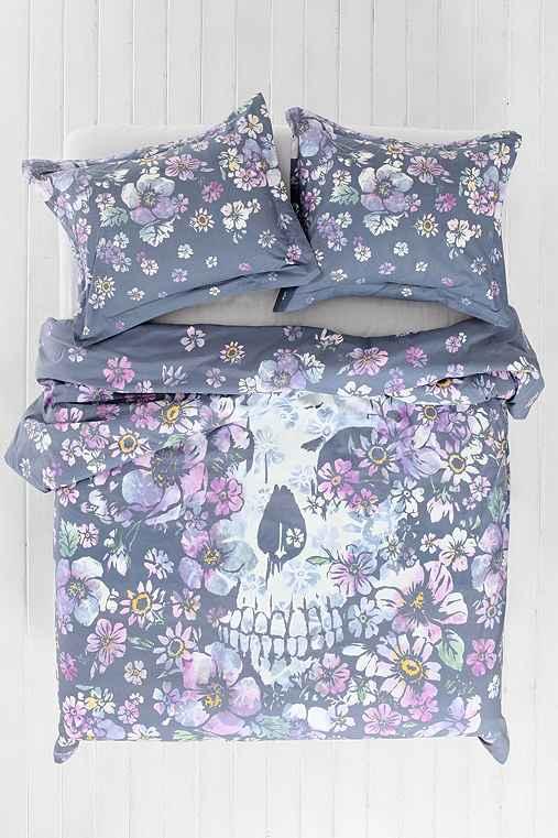 Plum Amp Bow Skull Flower Duvet Cover Urban Outfitters