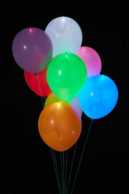 Colorful Light-Up LED Balloon 15-Pack Set