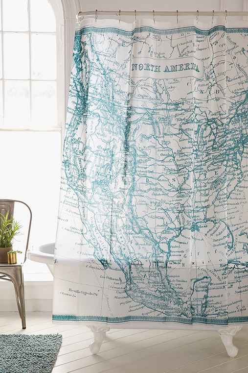 Antique Map Shower Curtain - Urban Outfitters