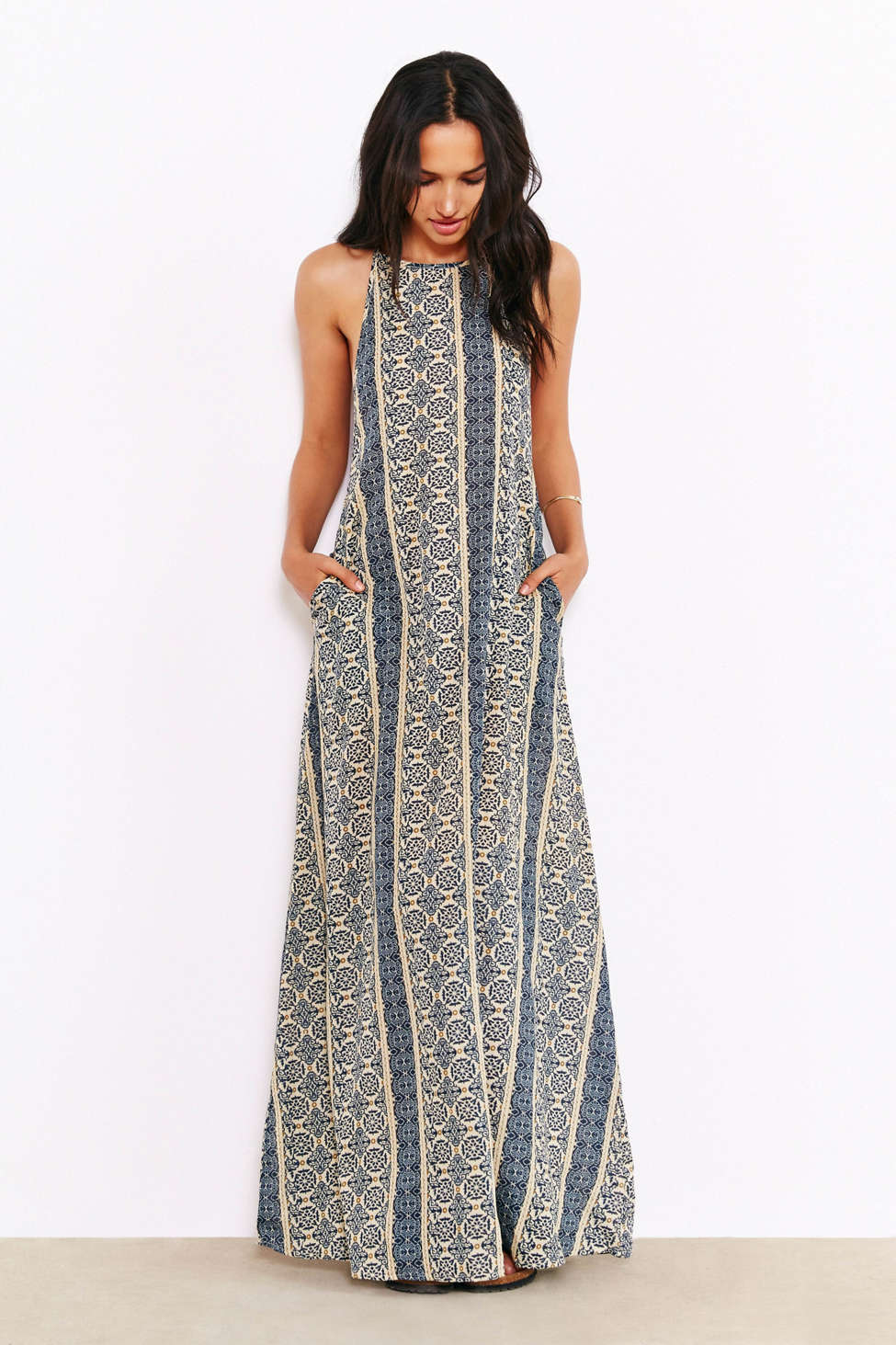 Band Of Gypsies Boho-Print Slip Maxi Dress