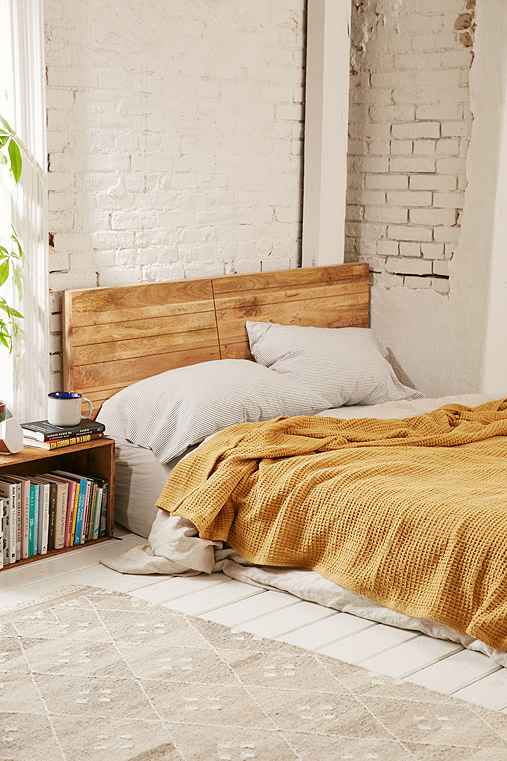 Waffled Bed Blanket,MUSTARD,FULL/QUEEN