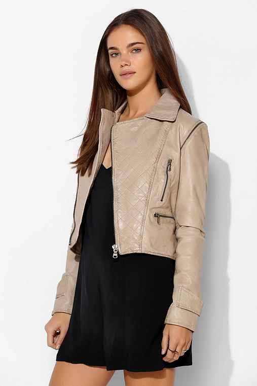 Abbey Lee Washed Leather Convertible Moto Jacket