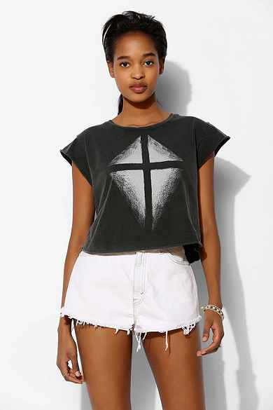 Truly Madly Deeply Illuminated Cross Cropped Cap-Sleeve Tee