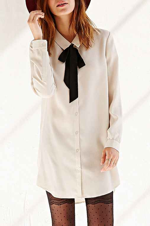COPE Tie-Neck Silky Shirtdress