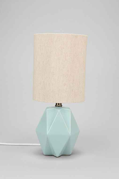 Faceted Pastel Table Lamp,GREEN,ONE SIZE