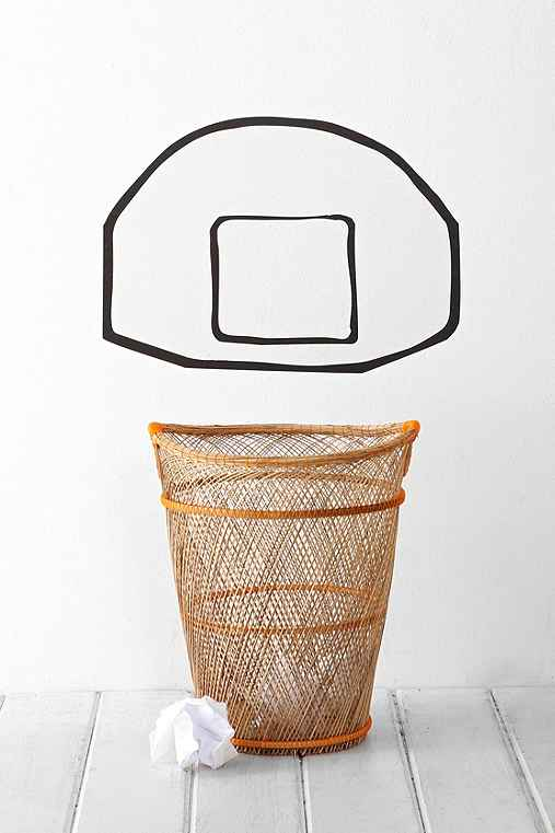 Basketball backboard wall decal urban outfitters - Basketball waste paper basket ...
