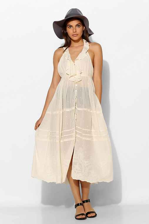 Kimchi Blue Antigua Sheer Ruffle Midi Dress,CREAM,XS