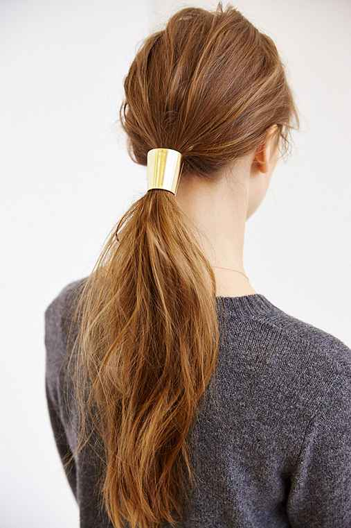 Metal Mania Ponytail Holder,GOLD,ONE SIZE
