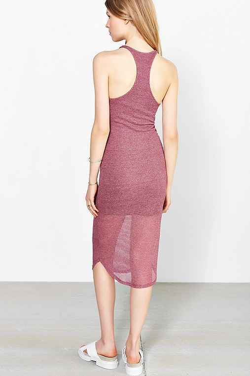 Sparkle & Fade Ribbed Racerback Tank Dress,MAROON,M