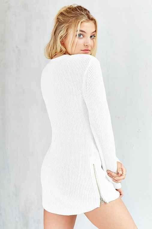 UNIF X UO Waffle-Knit Tunic Sweater,WHITE,M