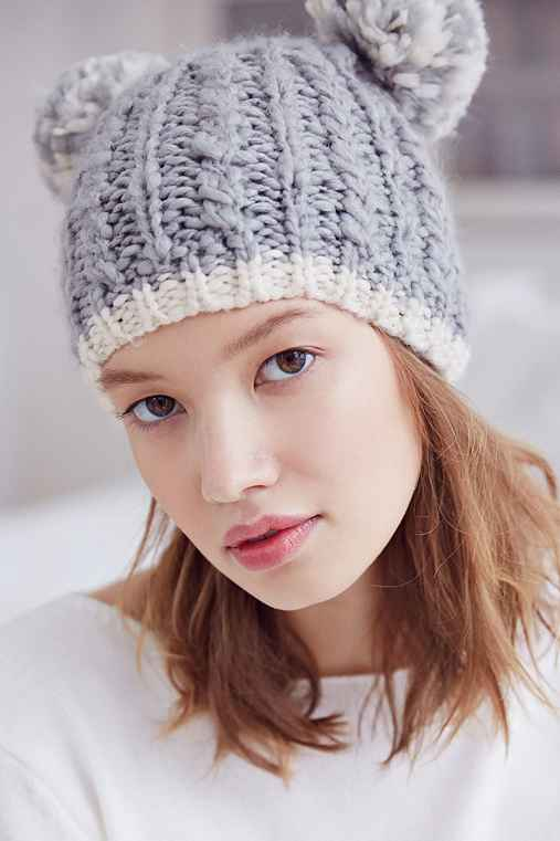 Animal Ears Cable-Knit Beanie