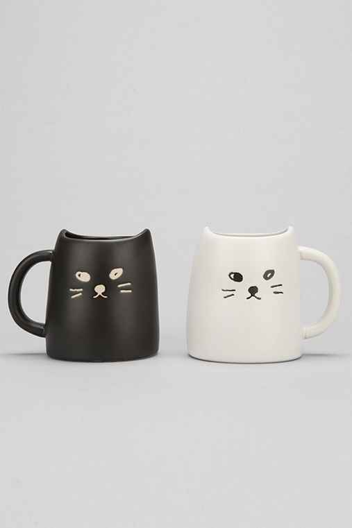 Black & White Cat Mug Set,BLACK & WHITE,ONE SIZE