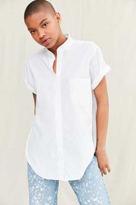 Urban Renewal Remade Mandarin-Collar Side-Slit Shirt