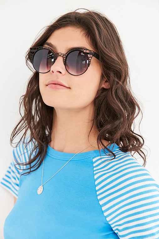 Quay Fleur Round Cat-Eye Sunglasses,BLACK,ONE SIZE