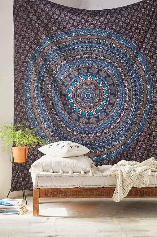 Magical Thinking Turquoise Elephant Medallion Tapestry