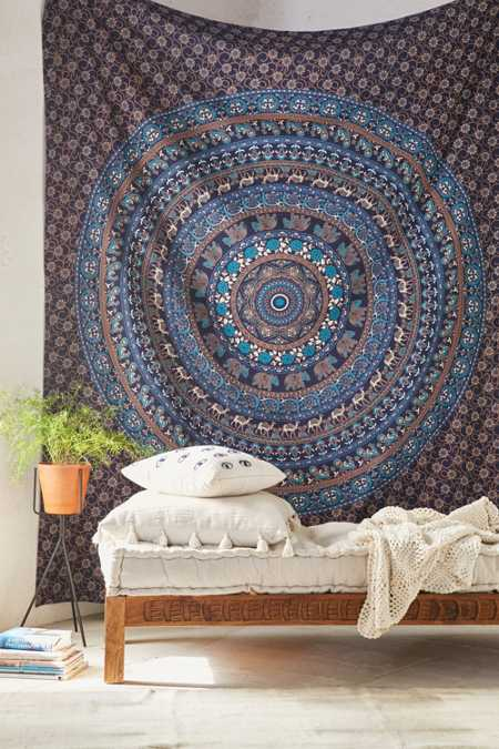 Magical Thinking Turquoise Elephant Medallion Tapestry