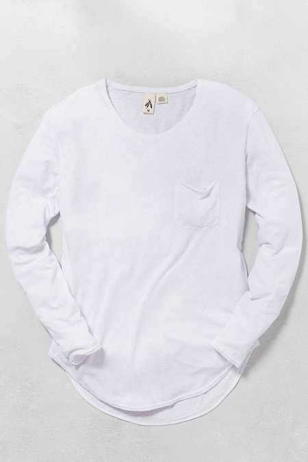 Feathers Curved Hem Long-Sleeve Tee