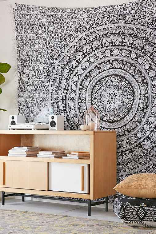 Magical Thinking Floral Elephant Tapestry,BLACK & WHITE,ONE SIZE