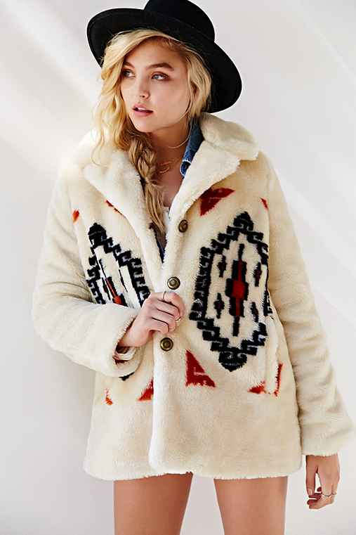 Ecote Mountain Geo Faux Fur Coat
