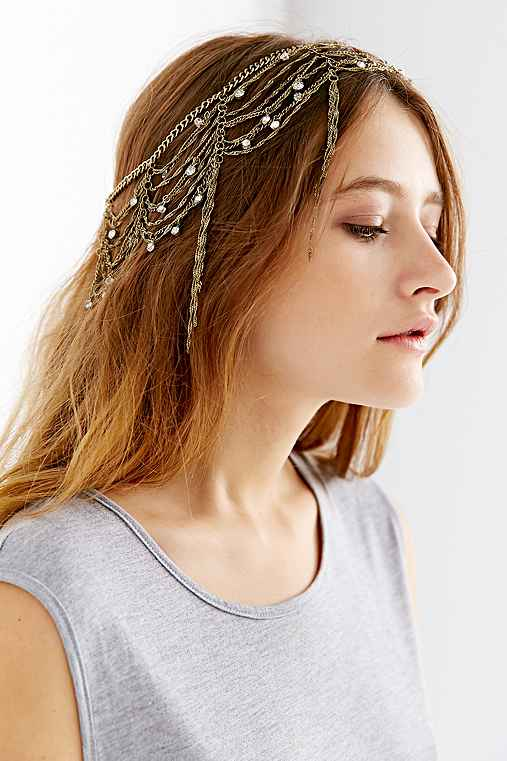 Dripping Chains Jeweled Goddess Chain HeadwrapGOLDONE SIZE $28.00 AT vintagedancer.com
