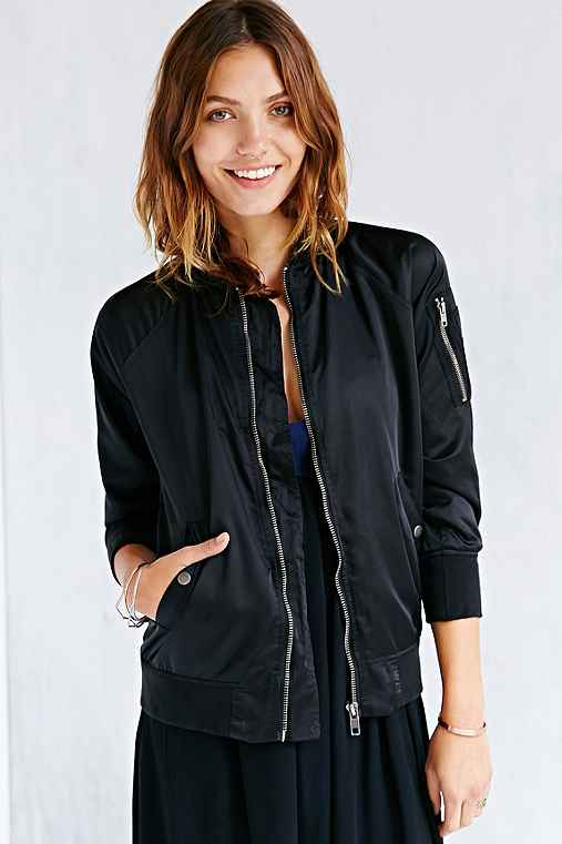 Members Only MA-1 Satin Bomber Jacket - Urban Outfitters