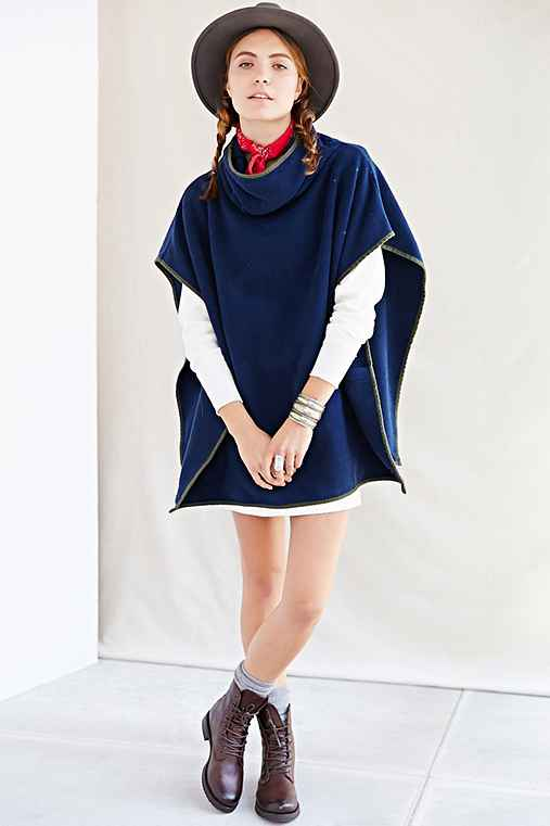 RTH X Urban Renewal Remade Funnel-Neck Blanket Poncho,NAVY,ONE SIZE