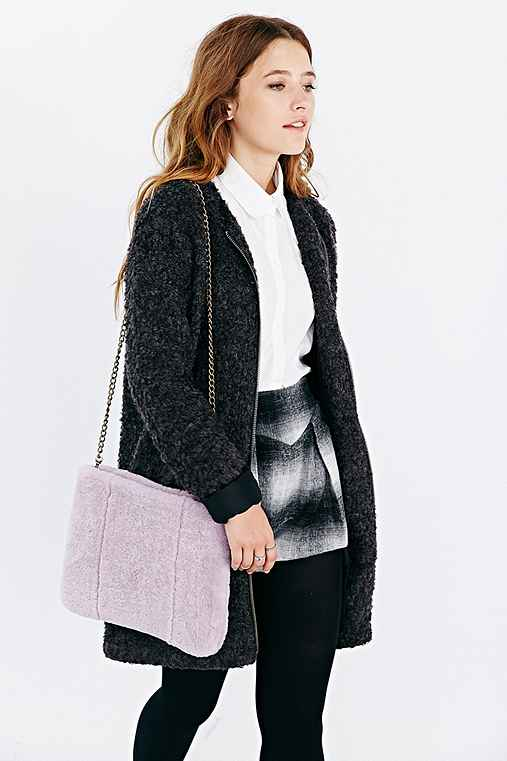 Silence + Noise Shearling Clutch