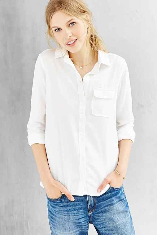 Bdg classic white oxford button down shirt urban outfitters for White button down oxford shirt