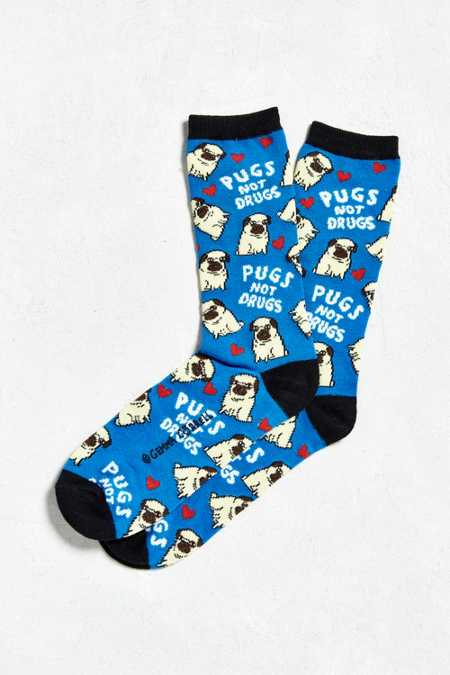 Pugs Not Drugs Sock