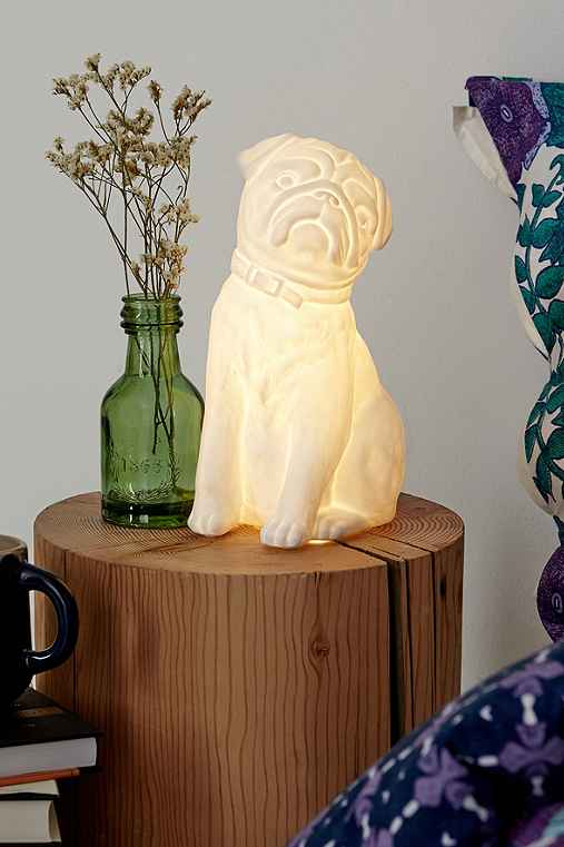 Plum & Bow Pug Table Lamp,WHITE,ONE SIZE