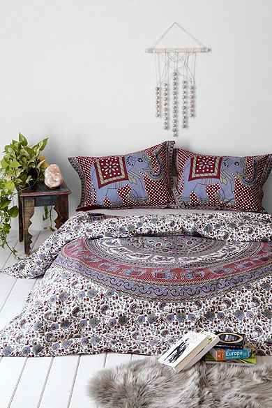 Magical thinking grey elephant stamp duvet cover Magical thinking bedding