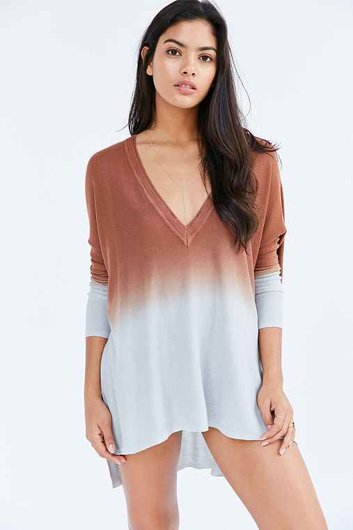 Pins And Needles Dip-Dye Tunic Top,BROWN MULTI,L