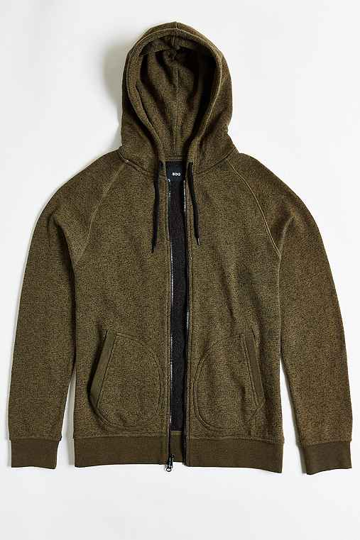 BDG Marled Zip Hoodie Sweatshirt,OLIVE,XS