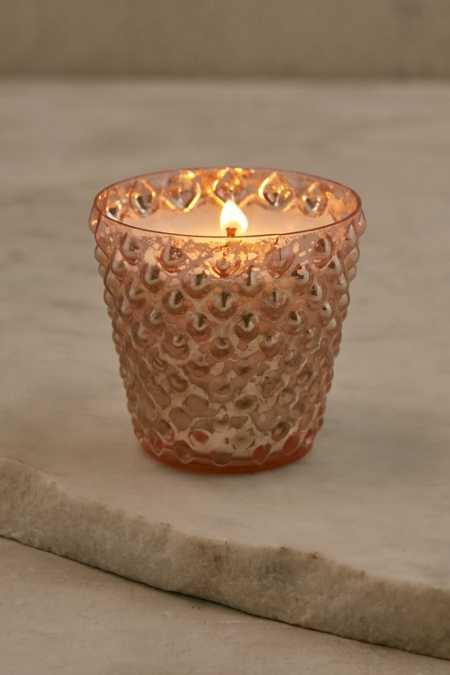 Small Flare Hobnail Mercury Glass Candle