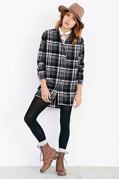Raga Bushed Wool Plaid Button Down Shirt Urban Outfitters