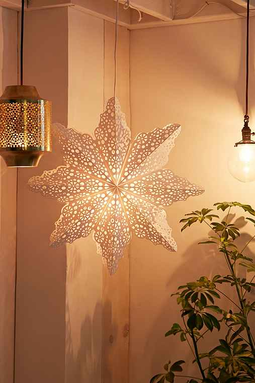 Cutout Star Paper Lantern,WHITE,ONE SIZE