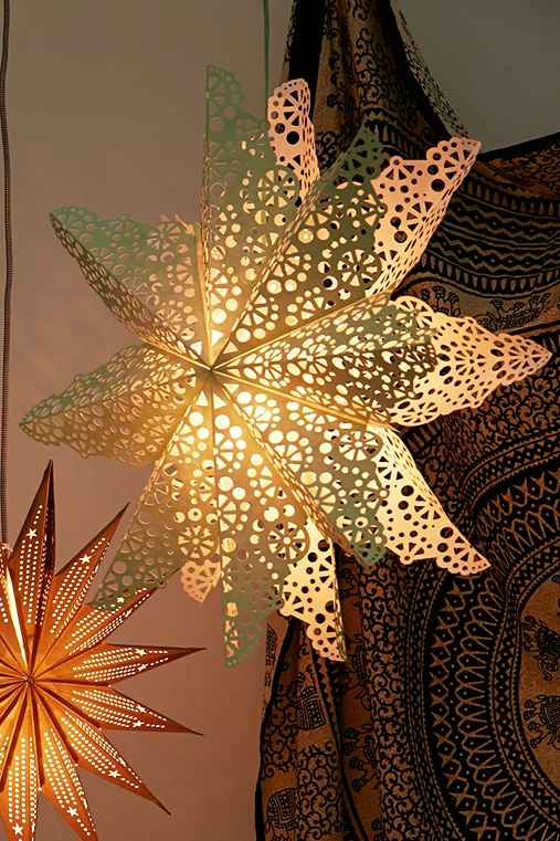 Cutout Star Paper Lantern,MINT,ONE SIZE