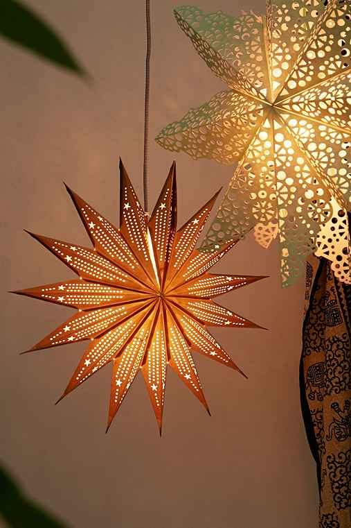 """Pointed Cutout Star Paper Lantern, GOLD, ONE SIZE"""""""