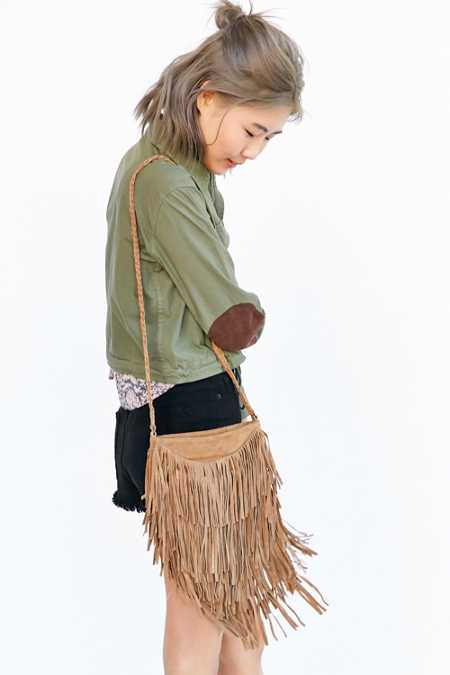 Ecote Suede Layered Fringe Crossbody Bag
