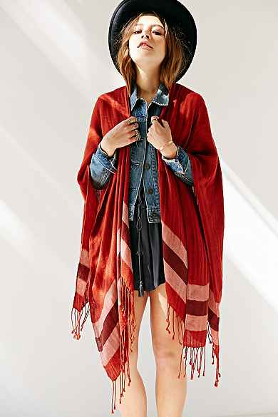 Border Stripe Blanket  Open Poncho
